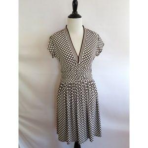 London Times Size 4 Brown White Polka Dot Dress